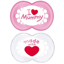Product thumb mam original i love mummy pacifier 6 months pink white